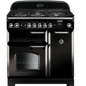 Rangemaster CLA90NGFBL/C Classic Black with Chrome Trim 90cm Gas Range Cooker