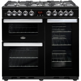 Belling Cookcentre 90DFT DX Black 90cm Dual Fuel Range Cooker