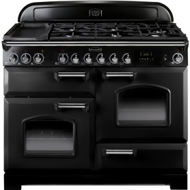 Rangemaster CDL110DFFBL/C Classic Deluxe Gloss Black with Chrome Trim 110cm Dual Fuel Range Cooker