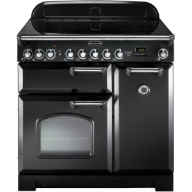 Rangemaster CDL90ECBL/C Classic Deluxe Gloss Black with Chrome Trim 90cm Electric Ceramic Range Cook