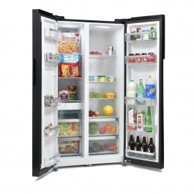 Montpellier CSBYS500BK 2 Door American Style Fridge Freezer - Black - 0